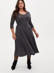 Super Soft Plush Charcoal Grey Lace Skater Dress
