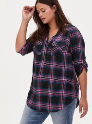 Harper - Black & Hot Pink Plaid Brushed Rayon Pullover Tunic Blouse