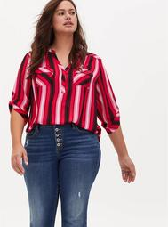 Harper - Red & Pink Stripe Georgette Pullover Blouse