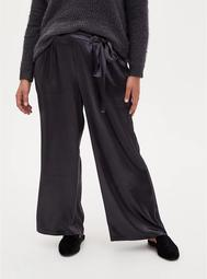 Grey Textured Charmeuse Self Tie Wide Leg Pant