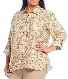 Plus Size Cheetah Print Crinkle Woven Long Roll-Tab Sleeve Button Front Shirt