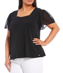 Plus Size Matte Jersey Square Neck Chiffon Sleeve Top