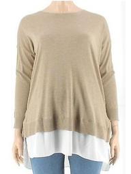 Lauren Ralph Lauren Plus Size Beige Layered Sweater 1X