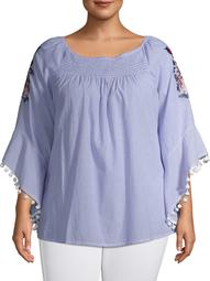Studio West Women's Plus Size Embroidered Flutter Sleeve Top With Pom Pom Detail