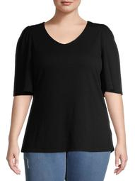 New York Laundry Women's Plus Size Elbow Sleeve V-Neck Ribbed Top