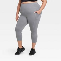 """Women's Plus Size Sculpted High-Waisted Capri Leggings 21"""" - All in Motion™ Charcoal Gray"""