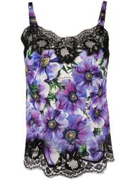 anemone print lace-trimmed top