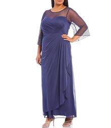 Plus Size Illusion Jewel Neck 3/4 Sleeve Ruched Stretch Mesh Gown