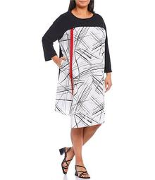 Plus Size Color Contrast Geo Print Bateau Neck 3/4 Sleeve Red Tape Shift Dress