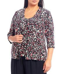 Plus Size Scoop Neck 2-Piece Slinky Printed Twinset