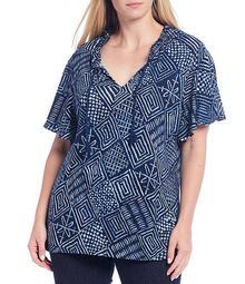 Plus Size Batik Block Print Linen-Blend Tassel Tie-Neck Flutter Sleeve Top