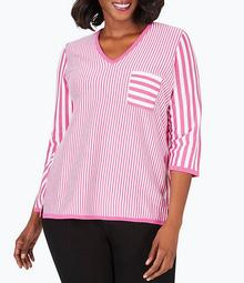 Plus Size Jaden 3/4 Sleeve Vertical Striped Cotton Blend Top
