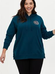 Teal Moon Fleece Side Zip Tunic Hoodie