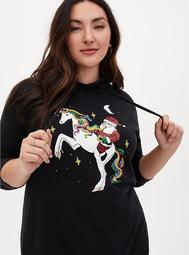Black Fleece & Sequin Santa Unicorn Tunic Hoodie
