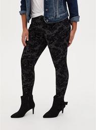 Studio Ponte Black Flocked Floral Pull-On Pixie Pant