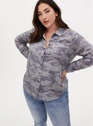 Camo Brushed Button Front Relaxed Fit Shirt