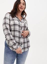 Grey Plaid Brushed Button Front Relaxed Fit Shirt