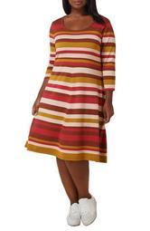 Striped Fit & Flare Midi Sweater Dress