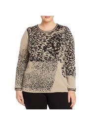 Nic + Zoe Womens Plus Kingdom Animal Print Reversible Sweater