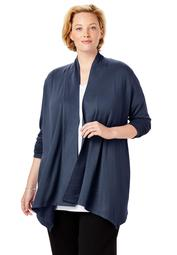 Woman Within Women's Plus Size Everywear Essentials Open Front Cardigan