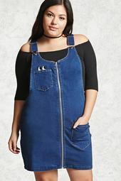 Plus Size Denim Overall Dress