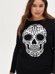 Black Skull Raglan Sweater