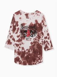 Classic Fit Raglan Tee - Tie-Dye Rose Brown