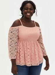 Peach Lace Bell Cold Shoulder Smocked Babydoll Top