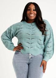 Pointelle Crop Sweater