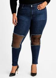 Fish Net Trim High Waist Jeans