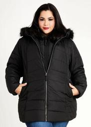 Faux Fur Hooded Vest Coat