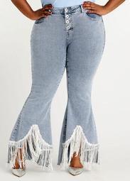Sequin Fringe Flared Hi Low Jeans