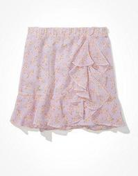AE High-Waisted Chiffon Wrap Mini Skirt