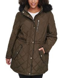 Plus Size Faux-Fur-Trim Hooded Quilted Anorak, Created for Macy's