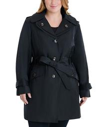 Plus Size Hooded Belted Water-Resistant Trench Coat, Created for Macy's