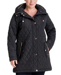 Plus Size Hooded Quilted Anorak Coat, Created for Macy's
