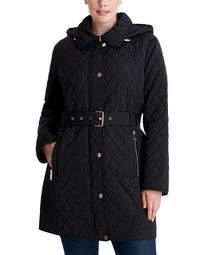 Plus Size Belted Quilted Coat