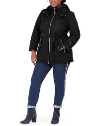 Plus Size Belted Hooded Water-Resistant Quilted Coat