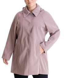 Plus Size Single-Breasted Hooded Raincoat