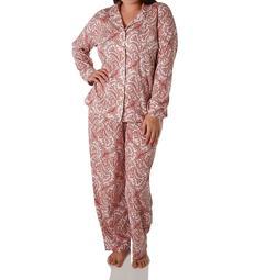 Lauren Ralph Lauren Sleepwear Classic Knits Long Sleeve Notch Collar PJ Set L92024F