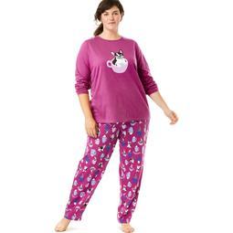 Dreams & Co. Plus Size Long Sleeve Knit Pj Set
