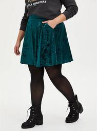 Green Crushed Velvet Skater Skirt