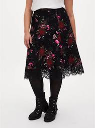 Black Floral Premium Ponte Lace Midi Skirt
