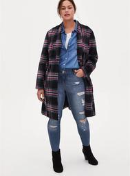 Black & Hot Pink Plaid Woolen Fit & Flare Longline Coat