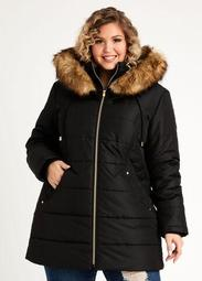 Quilted Faux Fur Trim Hooded Coat