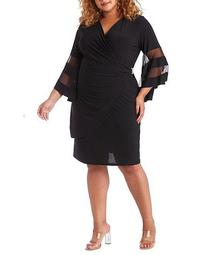 Plus Size V-Neck Faux Wrap Sheer Illusion Bell Sleeve Rhinestone Brooch Detail Knit Jersey Dress