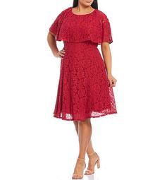 Plus Size Lace Caplet Sleeve A-Line Dress
