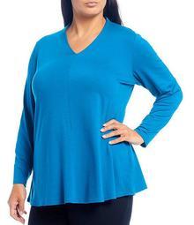 Plus Size Fine Tencel Jersey V-Neck Top