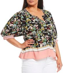 Plus Size Valerie Scenic Print Split V-Neck Elbow Sleeve Blouse
