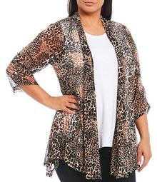 Plus Size Animal Print Shawl Collar Cinched 3/4 Sleeve Onion Skin Open Front Jacket